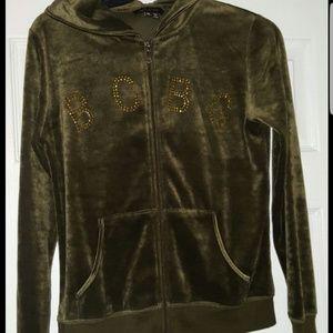 Vintage BCBG zipup velour hoodie